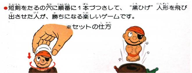 """1975年発売の『黒ひげ危機一発ゲーム』のパッケージ。「""""黒ひげ""""人形を飛び出させた人が、勝ちになる」とある"""