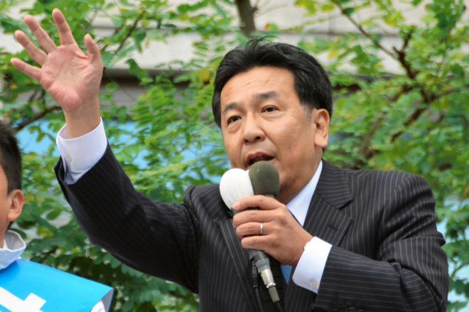 演説する立憲民主党の枝野幸男代表=2017年10月13日
