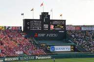 阪神甲子園球場のバックスクリーン。センターのカメラマン席もこの中のどこかにあります=加藤諒撮影