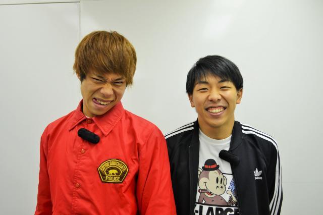 昨年デビューしたフースーヤ。左がツッコミ担当の田中ショータイムさん。右がボケ担当の谷口理さん=野口みな子撮影
