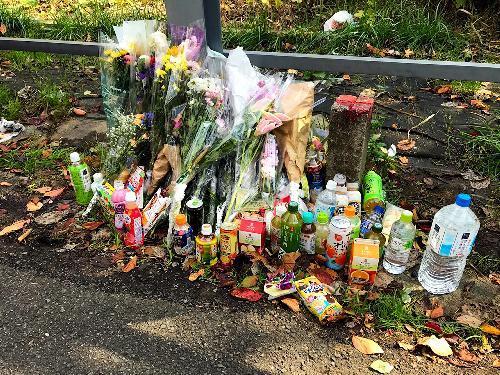 現場アパート近くには被害者への花や飲み物などが供えられていた=2017年11月11日、神奈川県座間市、金山隆之介撮影