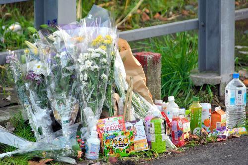 現場アパート近くには花束などが供えられていた=2017年11月10日、神奈川県座間市、阿部健祐撮影