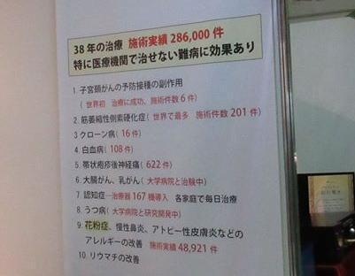 見本市のボード。「難病に効果あり」との記述も=松崎さん提供