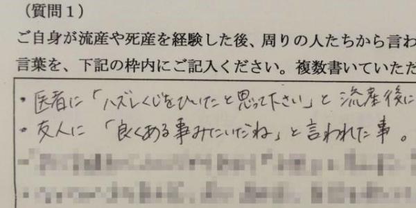 流産や死産を経験後、周りから言われて「傷ついた言葉」について朝日新聞が実施したアンケート一部(回答の一部にモザイクをかけています)