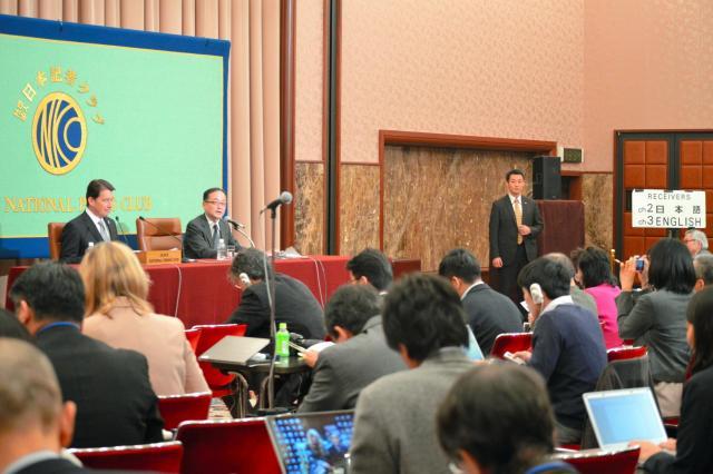 米国のハガティ駐日大使の記者会見で盛況の会場=11月17日、東京・内幸町の日本記者クラブ