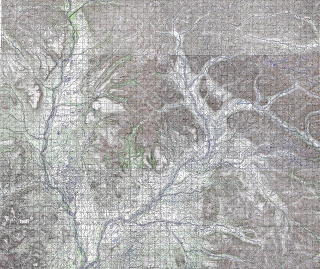 過去の資料に残された地形図。川や山などの位置が細かく記されている