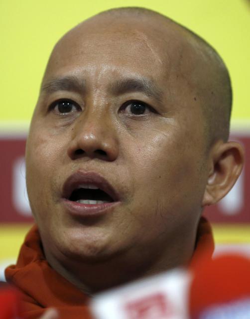 過激派仏教徒団体の中心になったウィラトゥ師=2014年9月