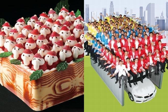 クリスマスケーキ「苺のサンタパレード」(左)と、「100人乗っても大丈夫!」のCMで有名なイナバ物置(右)