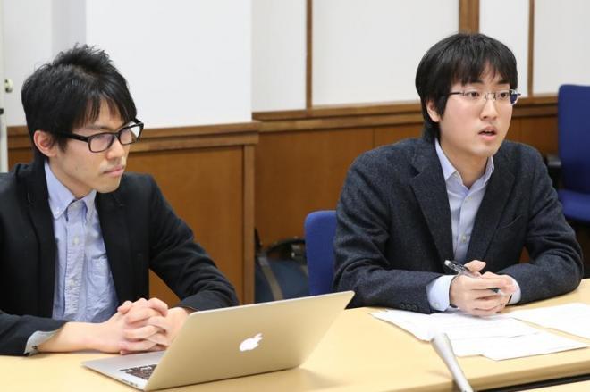 調査から見えてきたことについて話す高宮秀典さん(左)と金子智樹さん=東京都文京区、関田航撮影