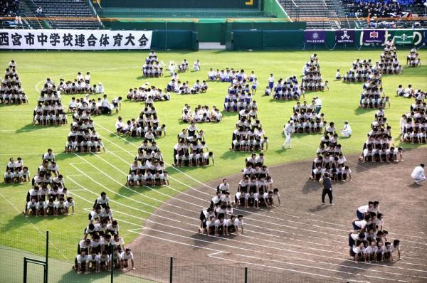 約1800人で組み体操を披露する中3の男子生徒=2010年11月10日、阪神甲子園球場