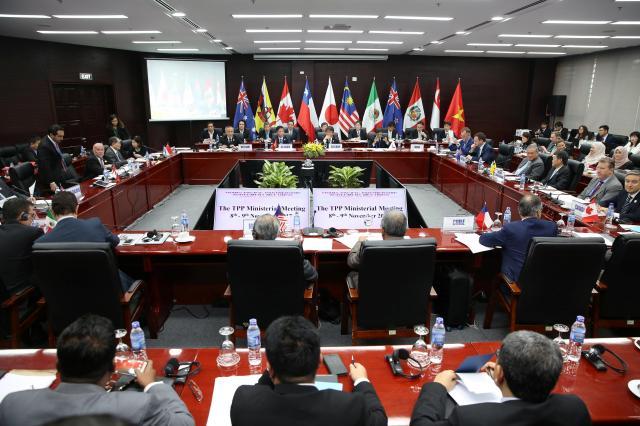 アメリカ抜きの11カ国で行われたTPPの会合。この後、なんとか大筋で合意にこぎつけた=2017年11月9日