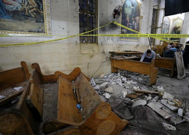 エジプト北部タンタで爆破された教会。過激派組織「イスラム国」(IS)が犯行声明を出した=2017年4月9日