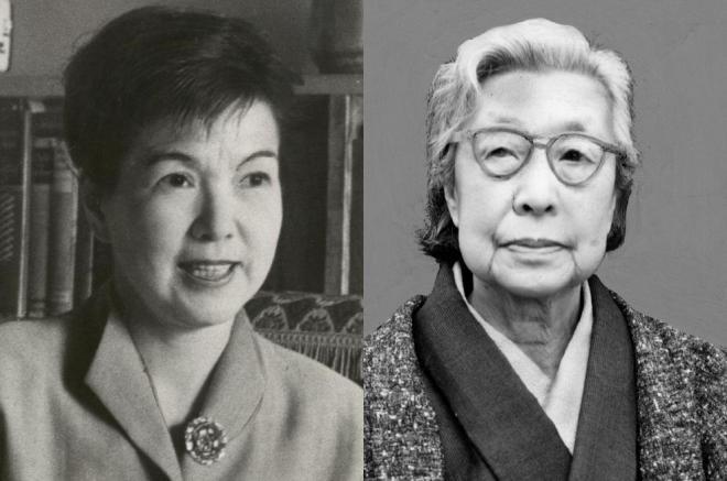 主婦論争を繰り広げた石垣綾子(左)と平塚らいてう