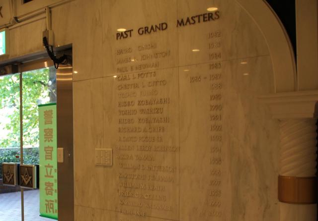 玄関脇に過去のグランドマスターが刻まれていた