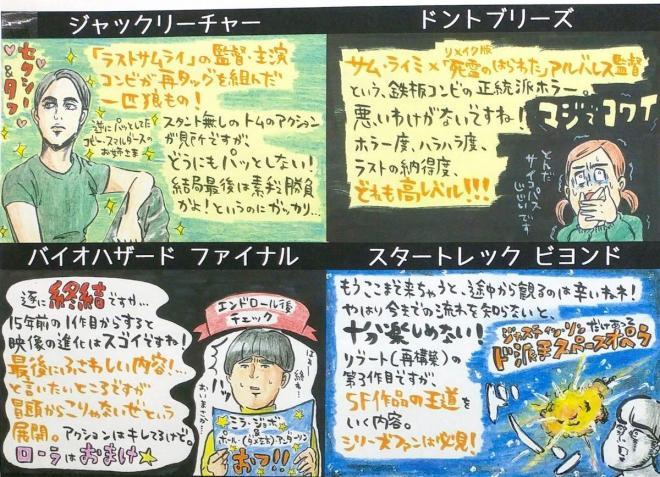 店内には手作りの作品紹介も。店主の柴田厚さんが感想を、店内のポップを担当してきた葛西さんがイラストを担当