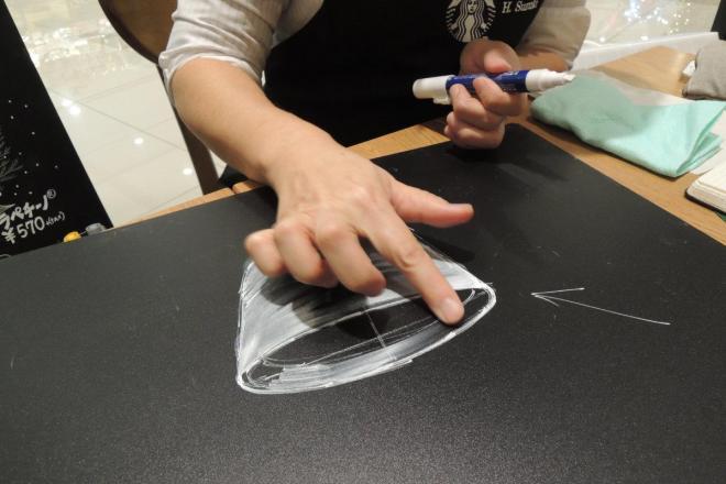 鈴木さんにコーヒーカップを描いてもらいました