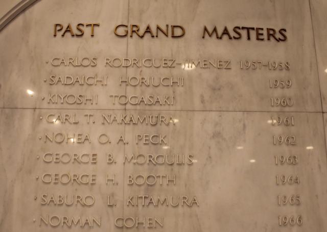 過去のグランドマスターの名前が彫られた壁。外国人が多い