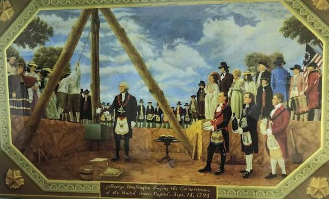 アメリカ初代大統領・ワシントンが国会議事堂の礎石(コーナーストーン)を置く儀式をしている様子。日本グランドロッジに飾られていた