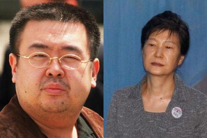 2001年5月4日、偽造旅券で日本に入国しようとし、国外退去処分となった金正男氏(左)、2017年8月25日にソウル中央地裁に到着した韓国の朴槿恵・前大統領