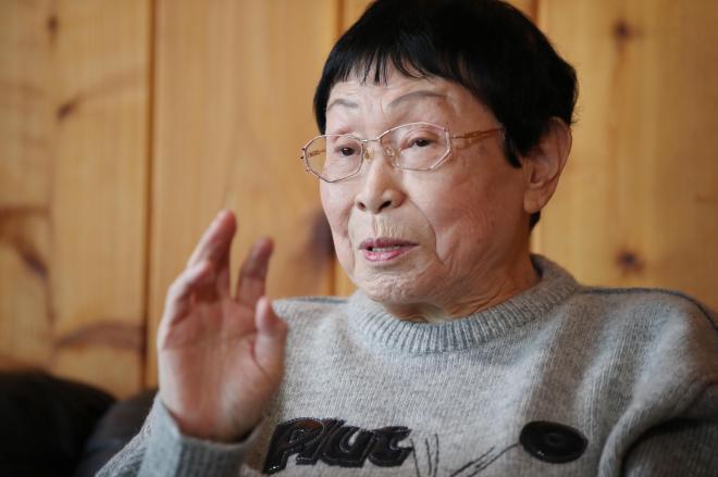 ホームドラマや家族について、思いを語る橋田寿賀子さん=早坂元興撮影