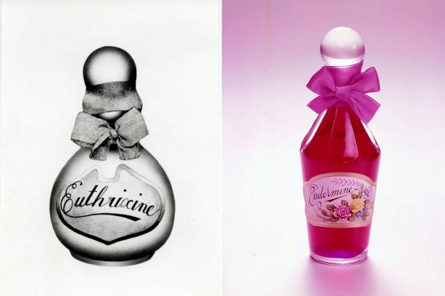 1898年発売の香油「花かつら」(オイトリキシン、左)と1897年発売のオイデルミン(レプリカ)=いずれも資生堂提供