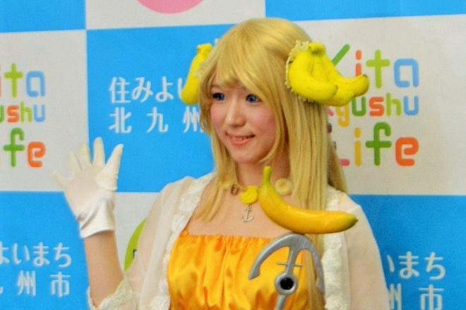 引退会見をするバナナ姫ルナ=2018年1月、井石栄司撮影