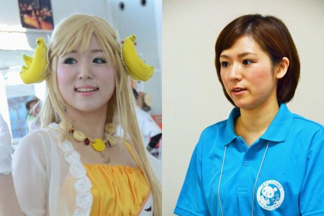 バナナ姫ルナ(左)。「中の人」井上純子さんは普段、北九州市の職員としてポロシャツ姿で働いている