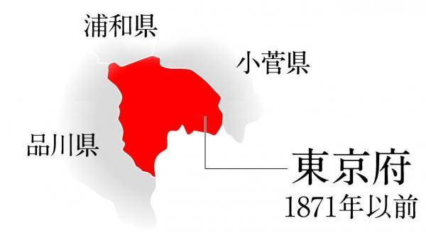 東京は、1871(明治4)年の廃藩置県まで、東を小菅県、西を品川県に囲まれた非常に狭いエリアだった=デザイン・佐藤慧祐