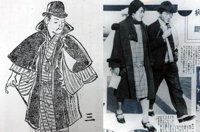 左は和服の上に二重回しを着る男性の絵。たもとなどが露出して見栄えが良くないと掲載の雑誌(都の華19号)にはある。右はアサヒグラフ掲載(1929年ごろ)のモボ(モダンボーイ)とモガ(モダンガール)