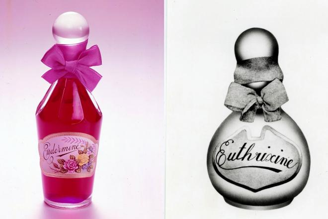 1897年発売のオイデルミン(レプリカ、左)と1898年発売の香油「花かつら」(オイトリキシン)=いずれも資生堂提供