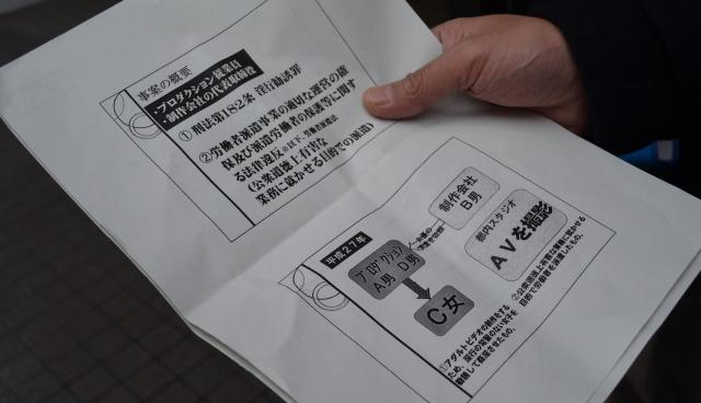 説明会終了後、配布資料を見せながら取材に応じる参加者もいた=千代田区神田1丁目、長野剛撮影