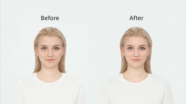 「A.I.ビューティーセンサー」機能により、くまやほうれい線などのシワ、肌の色つやなどが修正されている