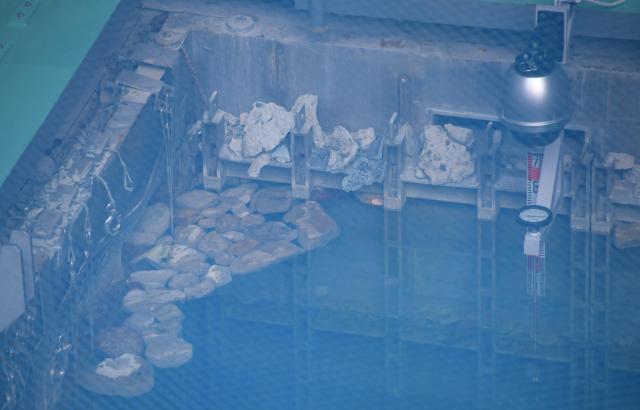 福島第一原発3号機の使用済み燃料プールの水面近くにはがれきが残っていた=福島県大熊町、竹花徹朗撮影