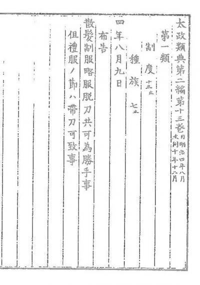 太政官布告として出された「散髪脱刀令」=国立公文書館蔵