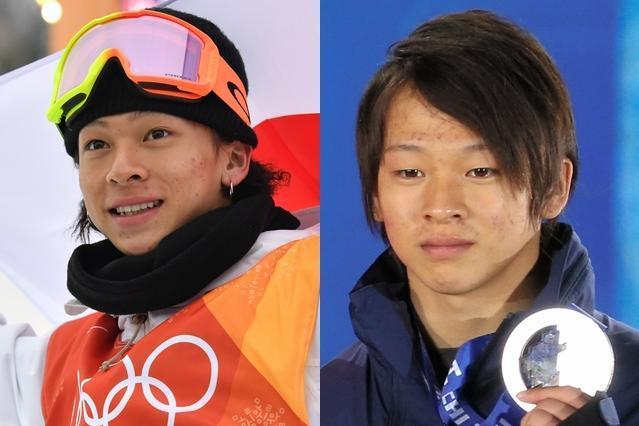 2大会連続で銀メダルを獲得した平野歩夢選手。左が平昌五輪、右が4年前のソチ五輪の写真