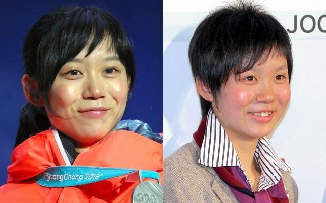 平昌五輪で銀メダルを獲得した高木美帆選手(23)。右はバンクーバー五輪の写真