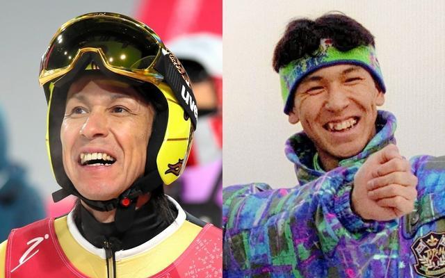 平昌五輪に臨む葛西紀明選手(45)。右はアルベールビル五輪の写真