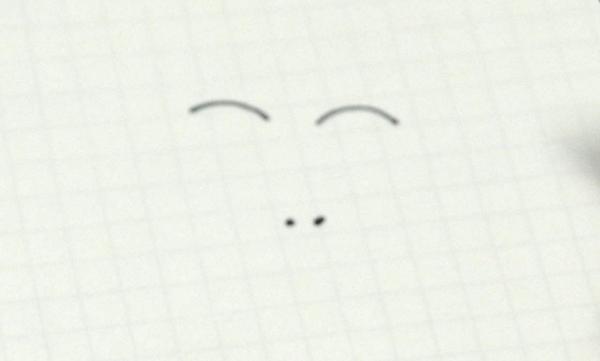 ①まずは点で目を描きます。その上にかなり離して眉毛を描きます