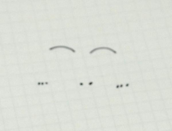②目の横には、「、、、」でほっぺたを描きます