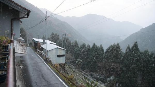 山の斜面を走る国道425号沿いに民家が点在する迫西川集落=昨年12月5日、奈良県十津川村、加藤諒撮影