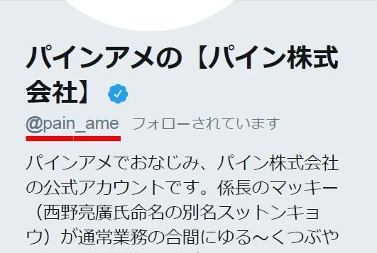 パインアメのツイッター。「pine」じゃなくて「pain(苦痛)」になっています