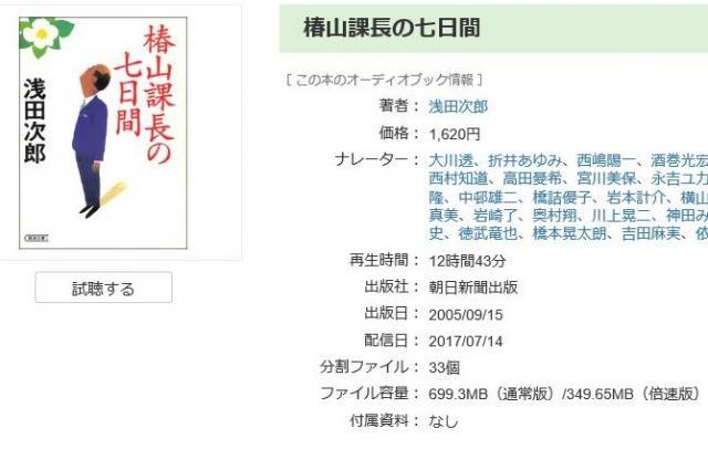 オーディオブックで読む『椿山課長の七日間』