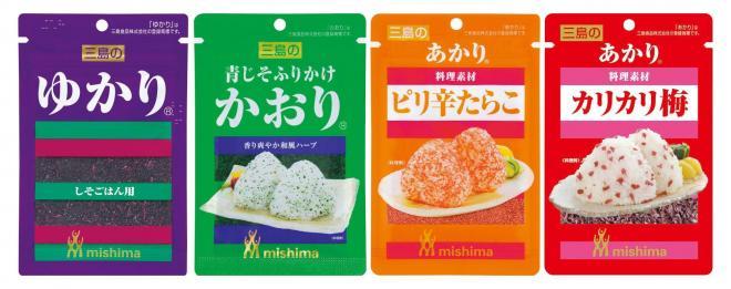 左から「ゆかり」「かおり」「あかり」。三島食品の三姉妹です