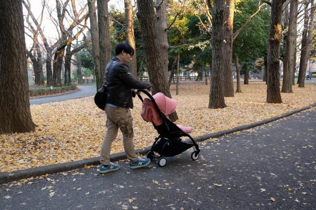 長女をベビーカーに乗せ、散歩をする魚返さん=本人提供
