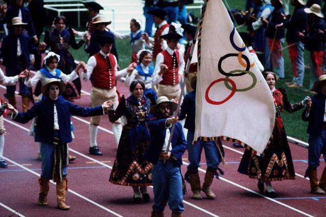 カナダであったモントリオール五輪の開会式=1976年7月17日