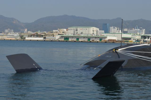 「せいりゅう」艦尾のX型の舵も「そうりゅう型」の特徴だ=3月12日、神戸市兵庫区の三菱重工神戸造船所