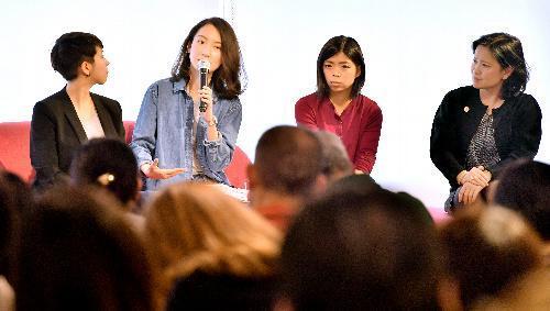 「#WeToo Japan」スタート記念イベントで話す登壇者たち=3日午後、東京都渋谷区、山本裕之撮影