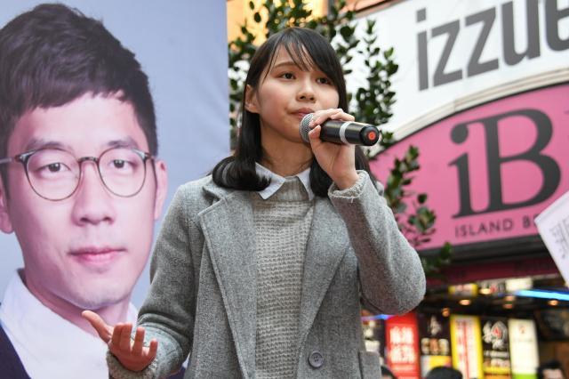 香港立法会補欠選挙へ立候補する考えを正式表明したアグネス・チョウさん=2018年1月13日、香港、益満雄一郎撮影