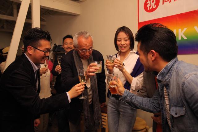 2015年3月、渋谷区の同性パートナーシップ条例の成立を祝うセクシュアルマイノリティの人々