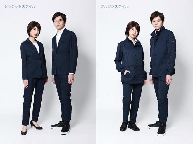 左がジャケットスタイル、右はブルゾンスタイル。女性用は4月下旬から販売予定